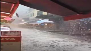 İstanbul'da feci dolu yağışı böyle görüntülendi