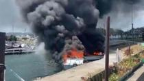 Maltepe Sahili'nde 5 tekne yandı!